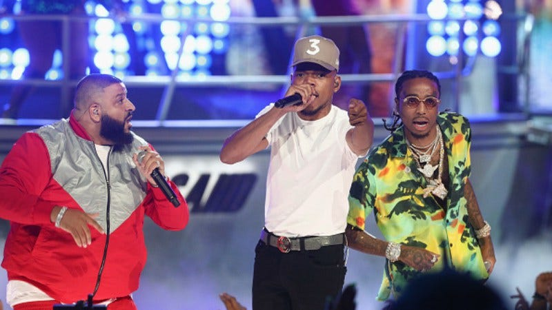 DJ Khaled, Chance The Rapper, and Quavo perform at the 2017 BET Awards (Photo: Frederick M. Brown/Getty Images )