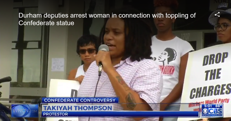 Takiyah Thompson, who, according to witnesses, put the noose around the statue's neck (WNCN video screenshot)