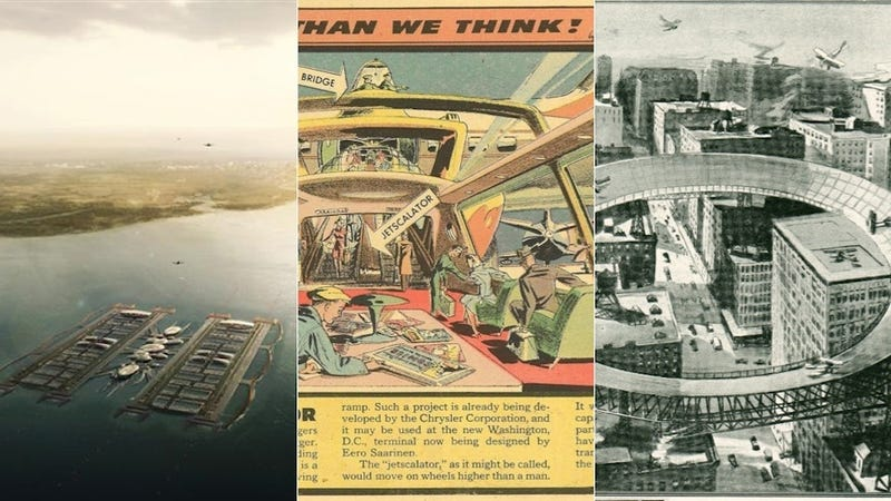 Illustration for article titled 12 Radical, Unbuilt Airports From 100 Years of Air Travel