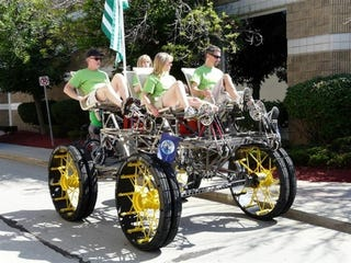 Illustration for article titled People-Powered Quadcycle Makes Stop At Woodward On Way To Burning Man