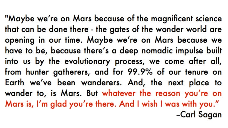 Illustration for article titled Carl Sagan's message to future explorers of Mars will cold-cock you right in the touchy feelies