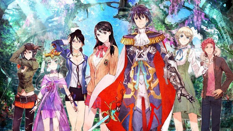 Pop star Kiria, vocaloid Tiki, manager Maiko, aspiring idols Tsubasa and Itsuki, actress Eleonora, and rising star Touma. (Character art: Nintendo)