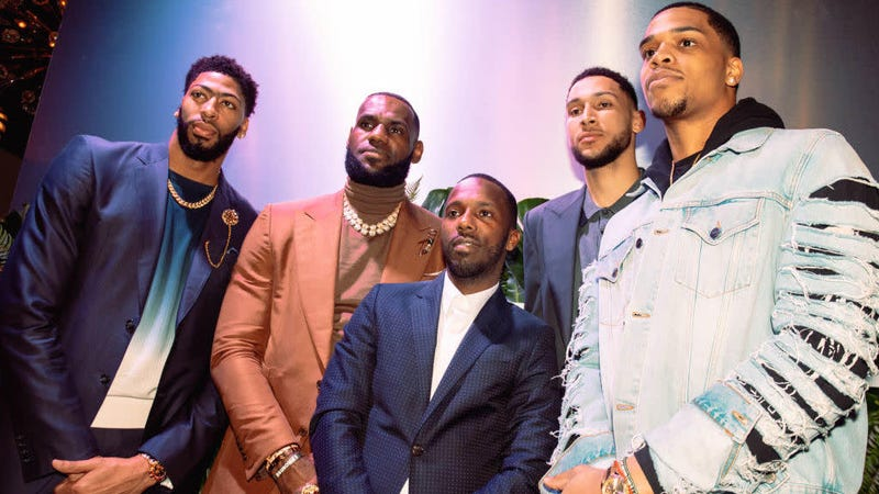 Klutch Sports Group head Rich Paul (center) is joined by (left to right) Anthony Davis, LeBron James, Ben Simmons and Miles Bridges during All-Star Weekend Feb. 19, 2019, in Charlotte, N.C.