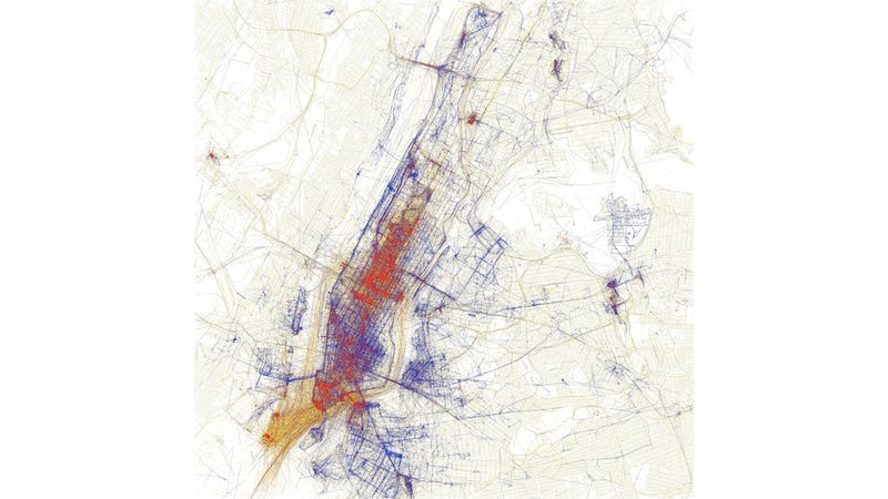 Illustration for article titled GPS Data Illuminates Tourists from Space