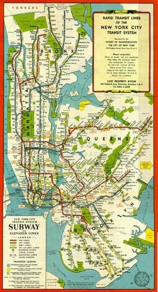 Map Of New York City Subway System.The New York City Subway Of 1948