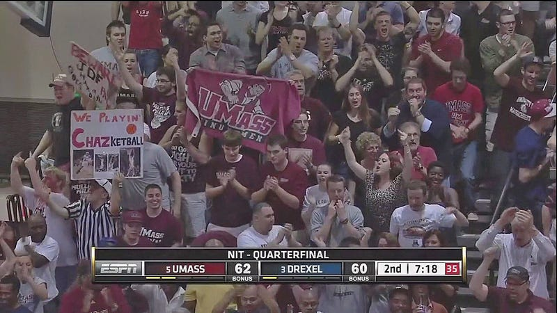 Illustration for article titled UMass Fans Celebrate NIT Road Win At Drexel With Middle Fingers, Surprise No One