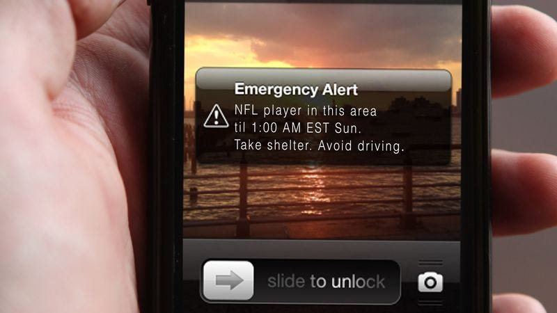 Illustration for article titled More Cities Using Text-Based Alert System To Warn Americans If They Are In Range Of NFL Players