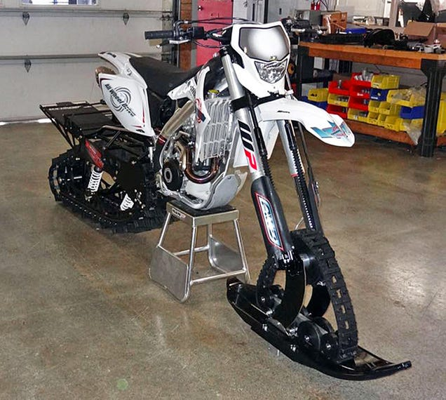 This Motorcycle With Snowmobile Tracks is the Most Overkill