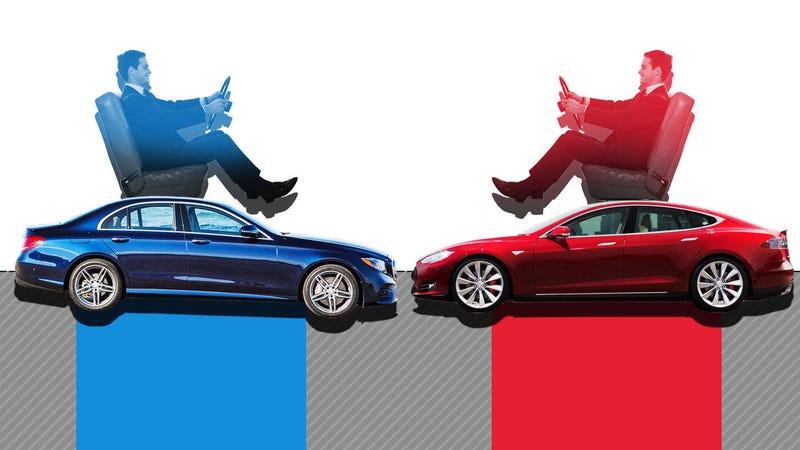 Illustration for article titled The War For Autonomous Driving: 2017 Mercedes-Benz E-Class VS. 2017 Tesla Model S