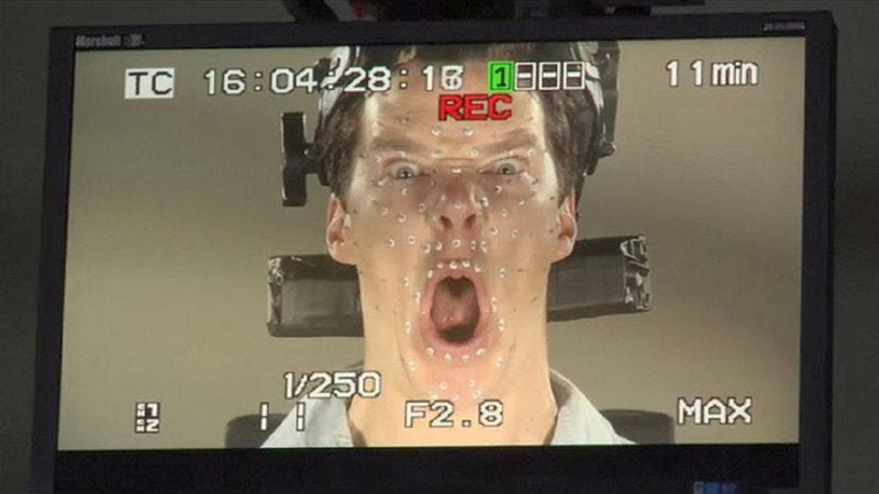 Illustration for article titled Benedict Cumberbatch looked totally insane doing motion-capture work for The Hobbit