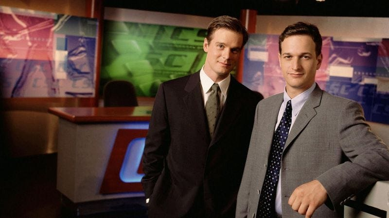 Peter Krause and Josh Charles in Sports Night