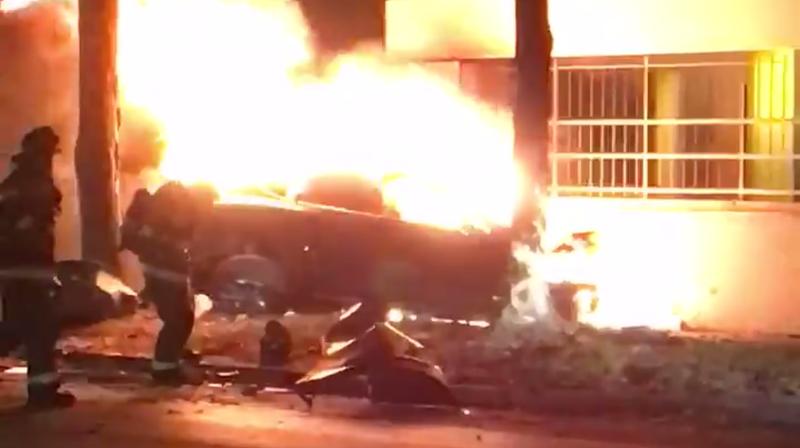 Screencap from Mark Bates' Facebook video of the crash below.