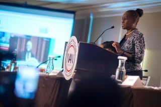 First Lady Chirlane McCray delivers opening remarks for a panel discussion on Mental Health as a part of the National Action Network annual conference.  Sheraton Times Square Hotel, New York City, April 13, 2016. Ed Reed/Mayoral Photography Office