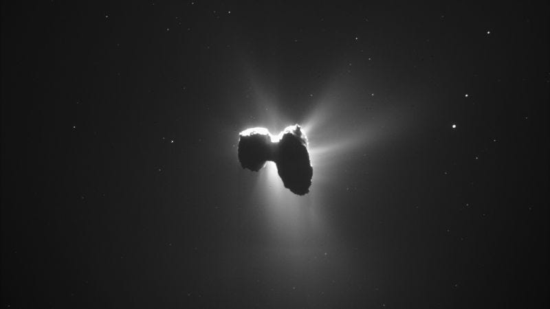 Illustration for article titled Rosetta descubre carbono y otras moléculas orgánicas complejas en el cometa 67P