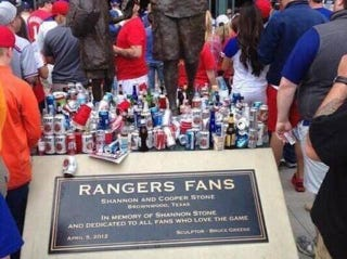 Illustration for article titled Rangers Apologize After Fan Memorial Used As Trash Can