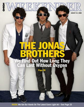 Illustration for article titled The Jonas Brothers: We Find Out How Long They Can Last Without Oxygen