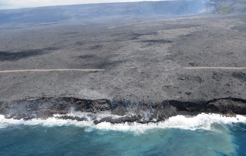 Lava from Kilauea volcano streaming into the ocean on July 29th. Image: US Geological Survey