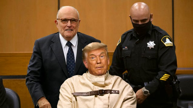 Giuliani Wheels Straitjacket-Wearing Trump Into Courtroom In Bid To Win Election With Insanity Defense