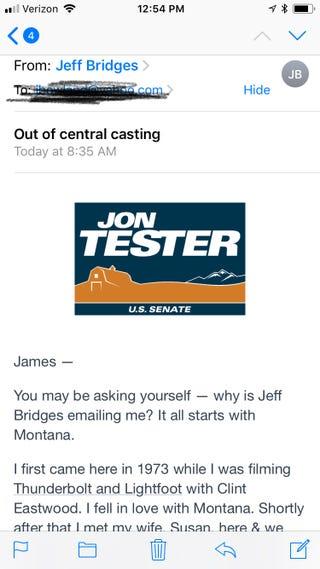 Illustration for article titled Jeff Bridges emailed me!!!