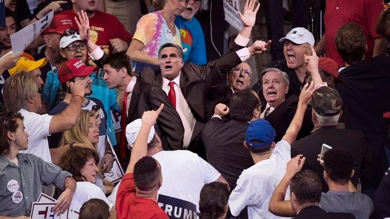 Illustration for article titled Violence Erupts At Trump Rally After Supporters Clash With Protesting GOP Leaders