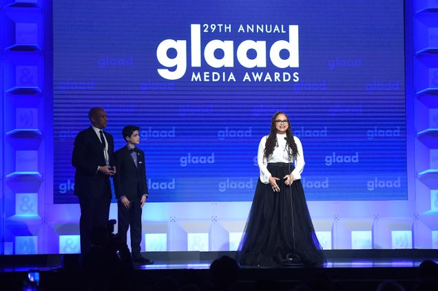 Director Ava DuVernay accepts the Excellence in Media Award onstage at the 29th Annual GLAAD Media Awards at the Hilton Midtown in New York City on May 5, 2018.