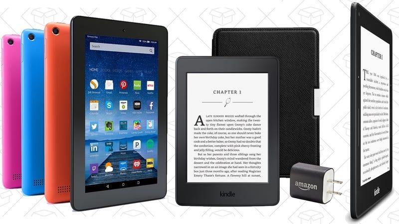 Fire Tablet, $40   Kindle, $60   Kindle Paperwhite, $100   Kindle Voyage, $180