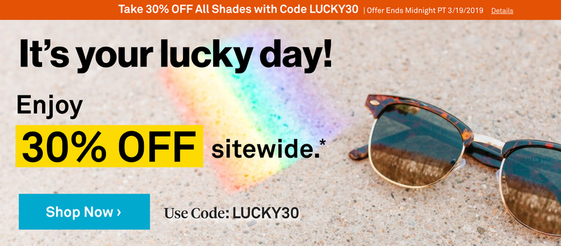 30% Off Sitewide | Sunglass Warehouse | Promo code LUCKY30