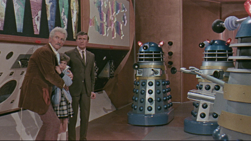 Dr. Who, being menaced by the Daleks.