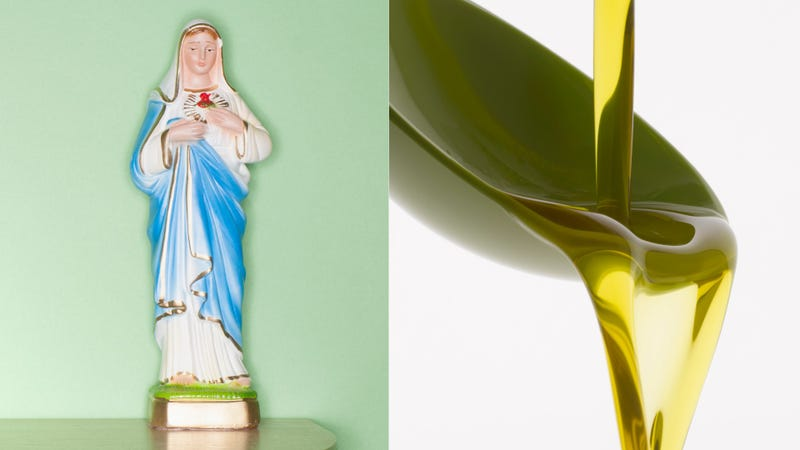 Illustration for article titled Virgin Mary statue may be crying olive oil tears for us all