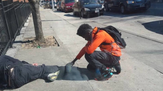 This photo of a teen stopping to pray for a sleeping homeless man in Baltimore was taken by Eric Gaines. Gaines was waiting for a bus when he witnessed the powerful moment, which went viral when he shared the photo on Facebook. Facebook