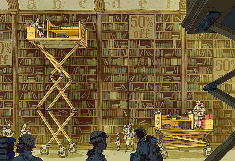 Illustration for article titled Concept Art Writing Prompt: Safari Inside a Bookstore