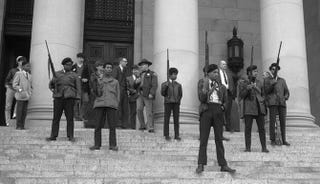 The Black Panther Party protest outside the California Capitol.Courtesy of the State Governors' Negative Collection, 1949-1975, Washington State Archives