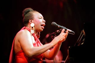Jazz and blues singer Nina Simone in concert at the Olympia music hall in Paris on Oct. 22, 1991BERTRAND GUAY/AFP/Getty Images