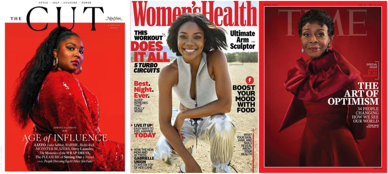 Lizzo on the Feb. 7-14 issue of The Cut; Gabrielle Union on the March issue of Women's Health; Cicely Tyson on Time Magazine's Optimists issue.