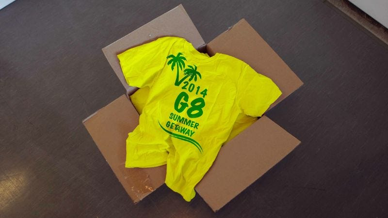 Illustration for article titled G7 Unable To Get Deposit Back On Shipment Of 'G8 Summer Getaway' T-Shirts