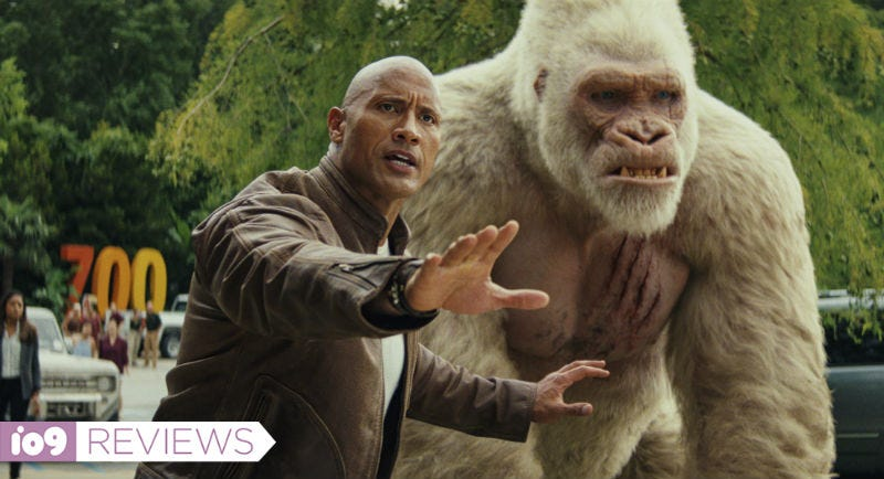 The Rock and his gorilla in Rampage.