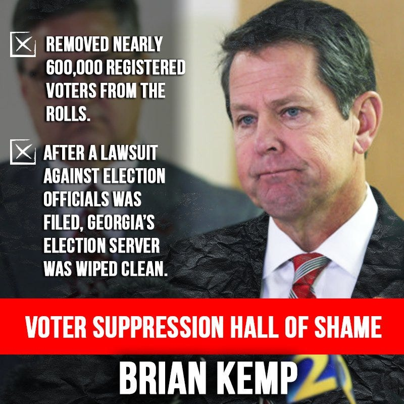 Illustration for article titled Georgia's Illegitimate Governor Brian Kemp is at it again