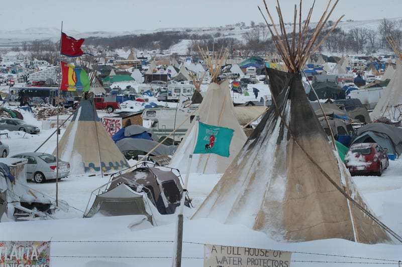 Snow covers Oceti Sakowin Camp near the Standing Rock Sioux Reservation on Nov. 30, 2016, in North Dakota.  Scott Olson/Getty Images
