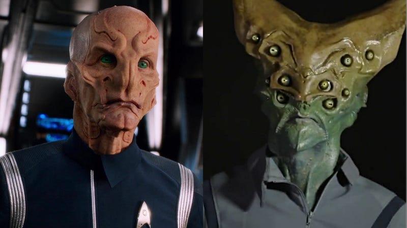 Star Trek: Discovery's Saru (Doug Jones) alongside the character's original design.