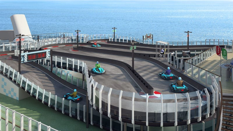 Illustration for article titled I Will Build This Luxury Cruise Ship With A Two-Story Ferrari Go-Kart Track For Charity