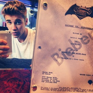 Illustration for article titled Justin Bieber is probably joking about being in Batman/Superman