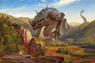 Illustration for article titled Mashup art puts Kaiju into classical paintings