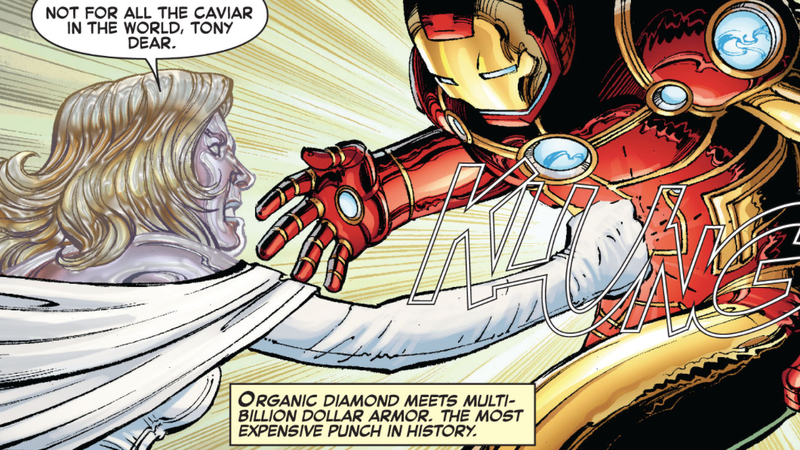Emma Frost punching the hell out of Iron Man.