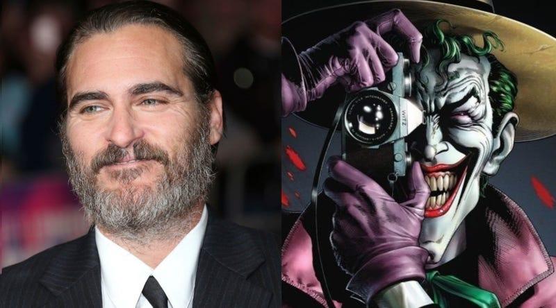 Izquierda: Joaquin Phoenix en el Festival de Cine de Londres 2017 (AP Images). Derecha: imagen de la película The Killing Joke.