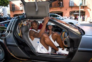 """Illustration for article titled DeLorean Shows Up at Nike Hyperdunk """"Back to the Future"""" Sneaker Premiere"""