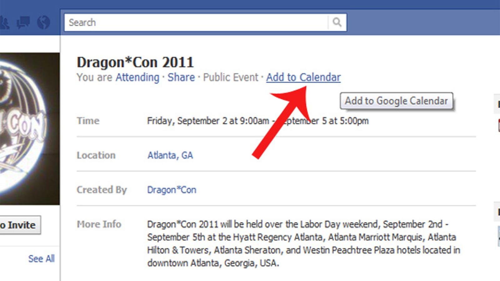 Add Facebook Events to Google Calendar