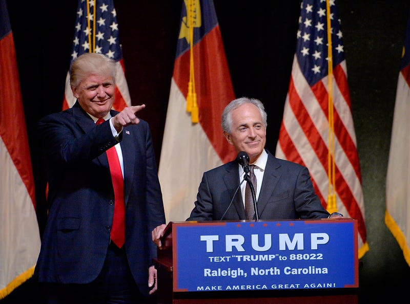 Then-Republican presidential nominee Donald Trump stands next to Sen. Bob Corker (R-Tenn.) during a campaign event at the Duke Energy Center for the Performing Arts on July 5, 2016, in Raleigh, N.C. (Sara D. Davis/Getty Images)