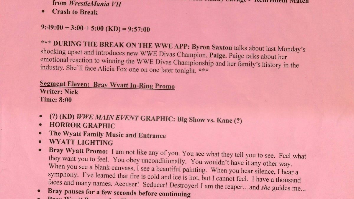 This Is What A Wwe Raw Script Looks Like