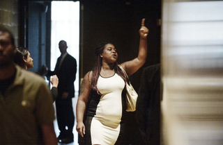 Erica Garner, the daughter of Eric Garner, who was choked to death by a police officer on Staten Island, N.Y., asks to speak with President Barack Obama outside a town hall hosted by ABC to engage directly with officers, parents, students, community leaders and families on issues of trust and safety July 14, 2016, in Washington, D.C.OLIVIER DOULIERY-POOL/GETTY IMAGES