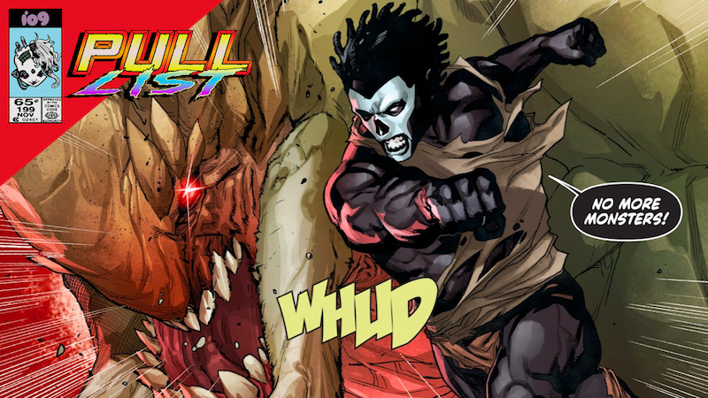 Shadowman punching the hell out of a swamp demon.